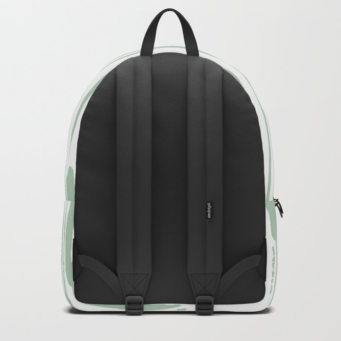 Bamboo Stripe Pastel Cactus Green White Backpack