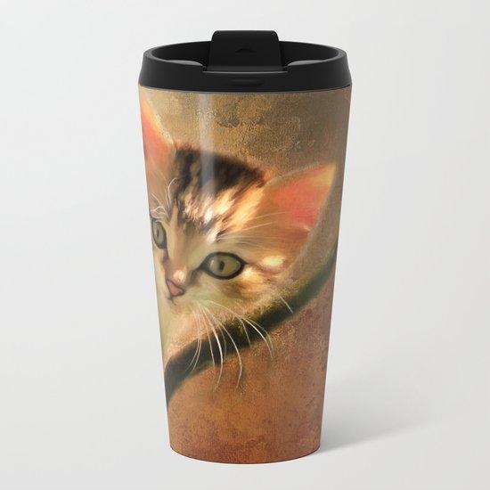 Little cute kitten on a tree Metal Travel Mug