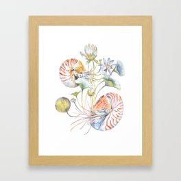 Nautilus and Lotus Surreal Watercolor Sea Animal Botanical Design Framed Art Print