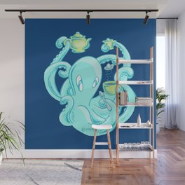 Squiggles: The perfect coffee (dark blue) Wall Mural