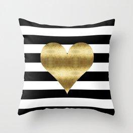 gold heart black and white stripe Throw Pillow