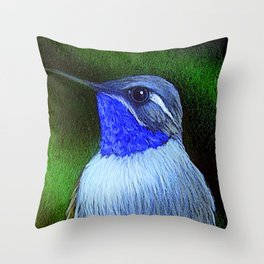 BLUE THOATED HUMMINGBIRD ILLUSTRATION Throw Pillow