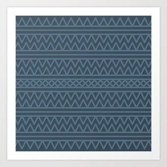 Slate Aztec Style Art Print