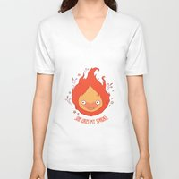 calcifer V-neck T-shirts featuring She Likes My Spark! by princefox