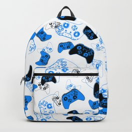 Video Game White and Blue Backpack