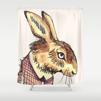 rabbits Shower Curtains featuring Rabbits Garden by Katie O'Hagan