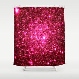 Hot Pink Glitter Galaxy Stars Shower Curtain
