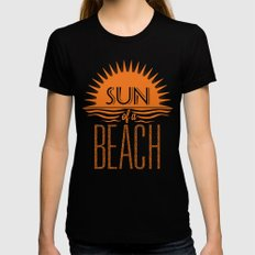 Sun of a Beach Black SMALL Womens Fitted Tee