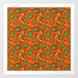 Chestnut and Chestnut Cupule Pattern Art Print