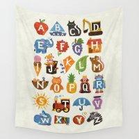 alphabet Wall Tapestries featuring Alphabet by WanderingBert / David Creighton-Pester