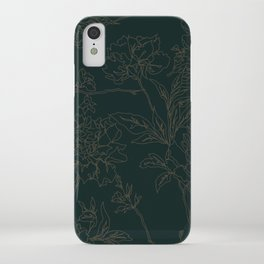 Emerald Vintage Chinoiserie Botanical Floral Toile Wallpaper Pattern iPhone Case