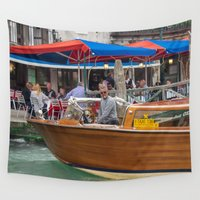 cigarette Wall Tapestries featuring Macho Cigarette Smoking Boatman in Venice by Carncross Photography
