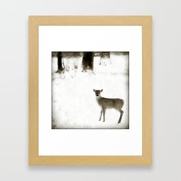 Fawn in the Snow Framed Art Print