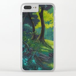 Magic forest glade art bright colors Clear iPhone Case