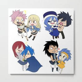 Fairy Tail Chibi Couples Metal Print