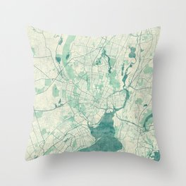 New Haven Map Blue Vintage Throw Pillow
