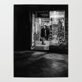Streets of Madrid - Late Night Shopping BW Poster