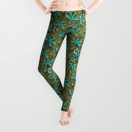 Snake Palms - Light Teal Mustard Leggings