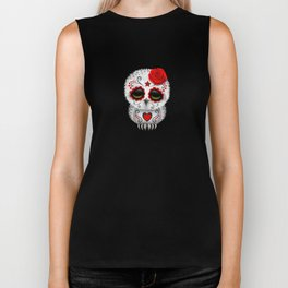 Adorable Red Day of the Dead Sugar Skull Owl Biker Tank