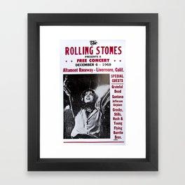 Vintage Rolling Stones free concert at Altamont Raceway, Livermore, California, December 6, 1969 Framed Art Print
