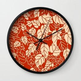 Japanese Leaf Print, Mandarin Orange Wall Clock