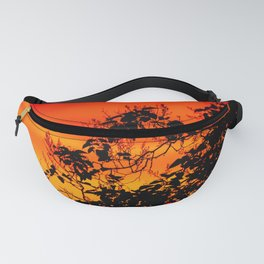 Silhouette of leaf with red autumn sky #decor #society6 Fanny Pack
