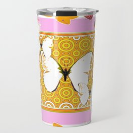 White Butterflies Orchid Sprays Purple Lilac-Gold Patterns Travel Mug