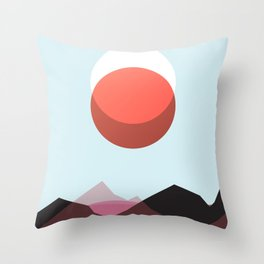 Minimalist Red Moon Lunar Eclipse with Mountains Throw Pillow