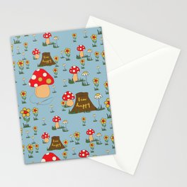 I am Happy - Fairy Magical Mushroom Blue Edit Stationery Cards
