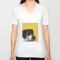 jack russell V-neck T-shirts featuring Milo the Jack Russell Terrier by Pawblo Picasso