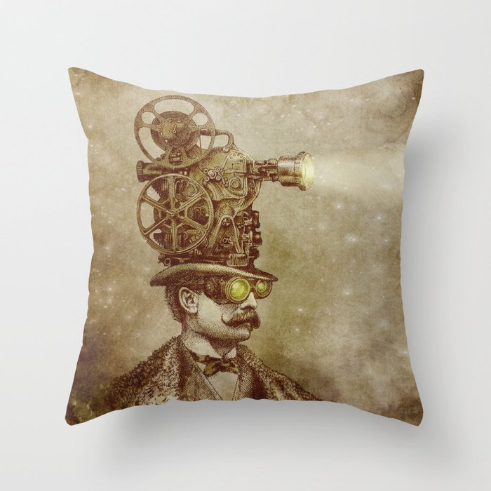 The Projectionist (sepia option) Throw Pillow by opifan64 Society6