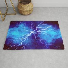Blue Lightning thunder in fog at night, graphic art Rug