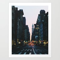 broadway Art Prints featuring Broadway by cascam