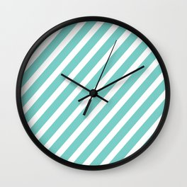Tiffany Aqua Blue Diagonal Stripes Wall Clock