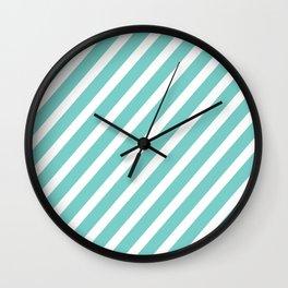 Tiffany Aqua Blue Diagonal Stripes Wall Clock