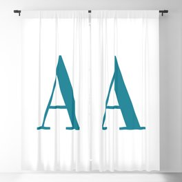 Teal Letter A Initial Monogram Blackout Curtain