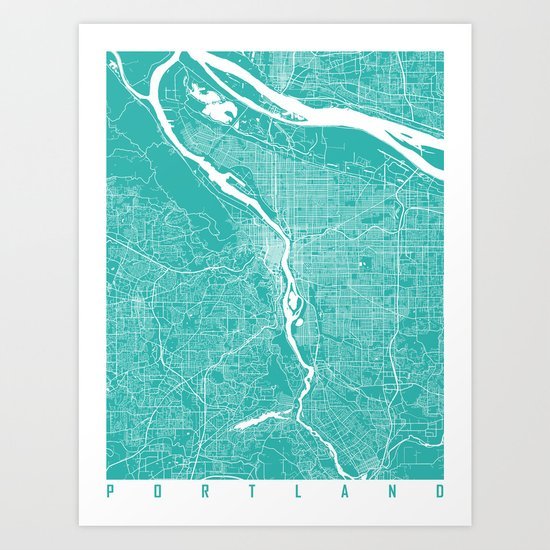 Portland map turquoise by maps_art