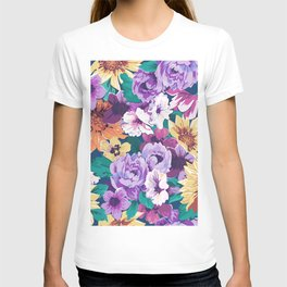Colorfu summer flowers collage pattern T-shirt