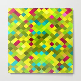 geometric square pixel pattern abstract in yellow red green blue Metal Print