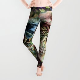 leaves skull i Leggings