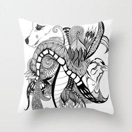 Inking Fox and Bird Throw Pillow