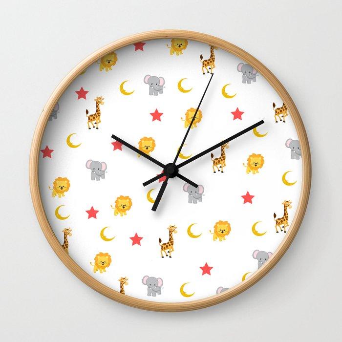Cute little animals pattern Wall Clock