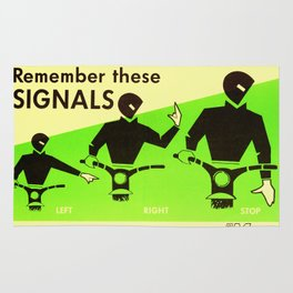 Vintage Road Safety Poster Rug