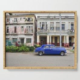 Havana Cuba Cuban Vintage Car Architecture Vedado Urban Street Photography Serving Tray