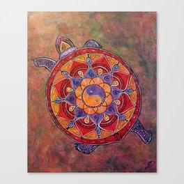 Autumn Turtle - yin yang mandala Canvas Print