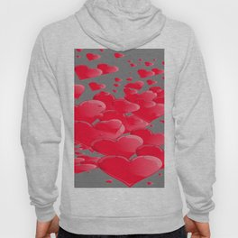 PINK CANDY VALENTINES HEARTS IN  GREY Hoody
