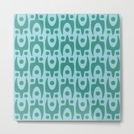 Mid Century Modern Abstract Pattern 155 Teal and Blue Metal Print