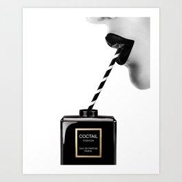 Fashion, Coctail, Face, Lips, Woman, Perfume, Bottle, Minimal, Wall art Art Print