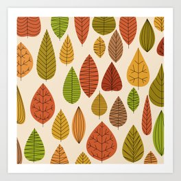 Geometric Leaves Art Print