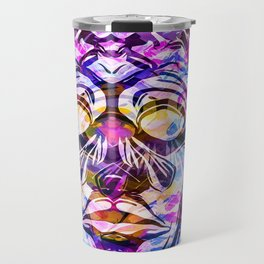 face mask with colorful kisses lipstick background Travel Mug